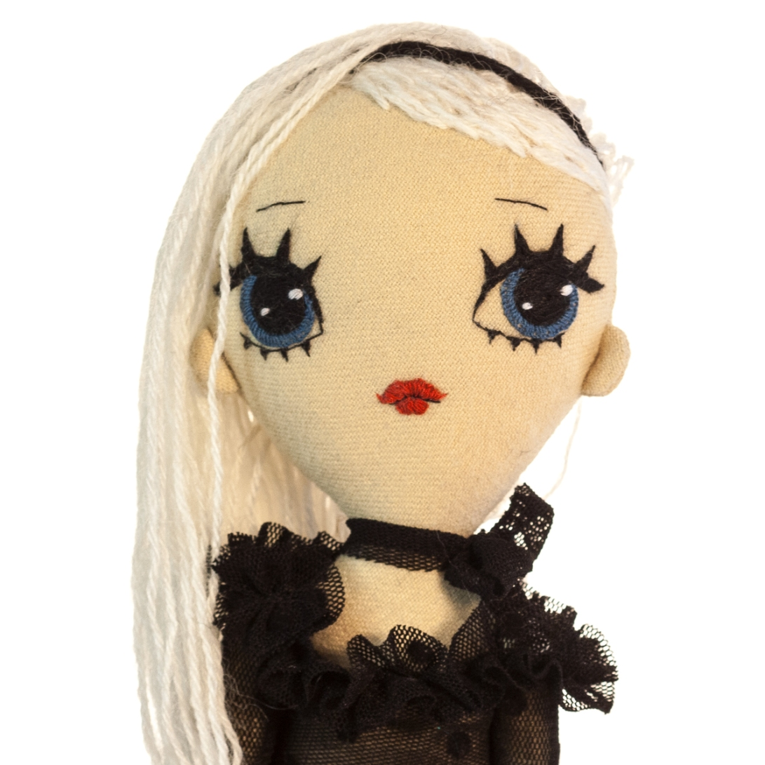 Dollcloud soft fabric doll Matilda with black hairband closeup
