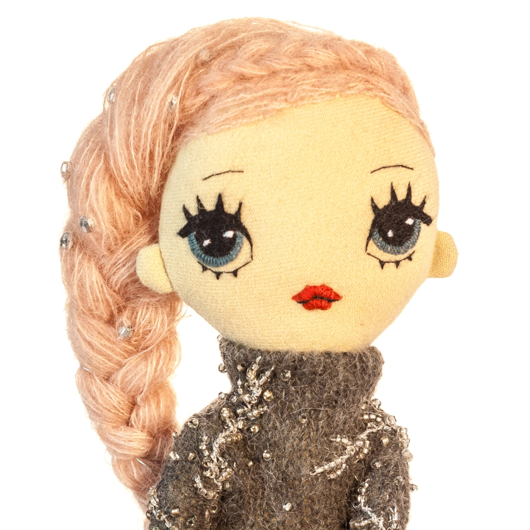 Dollcloud Agnes handmade fabric fashion doll in beaded wooly onesie