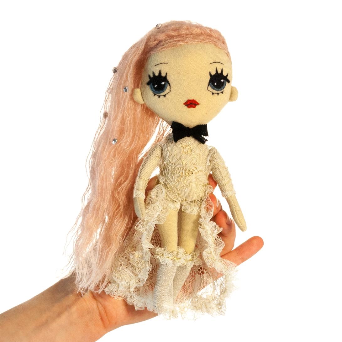 Dollcloud Agnes handmade fabric fashion doll in golden lace princess dress