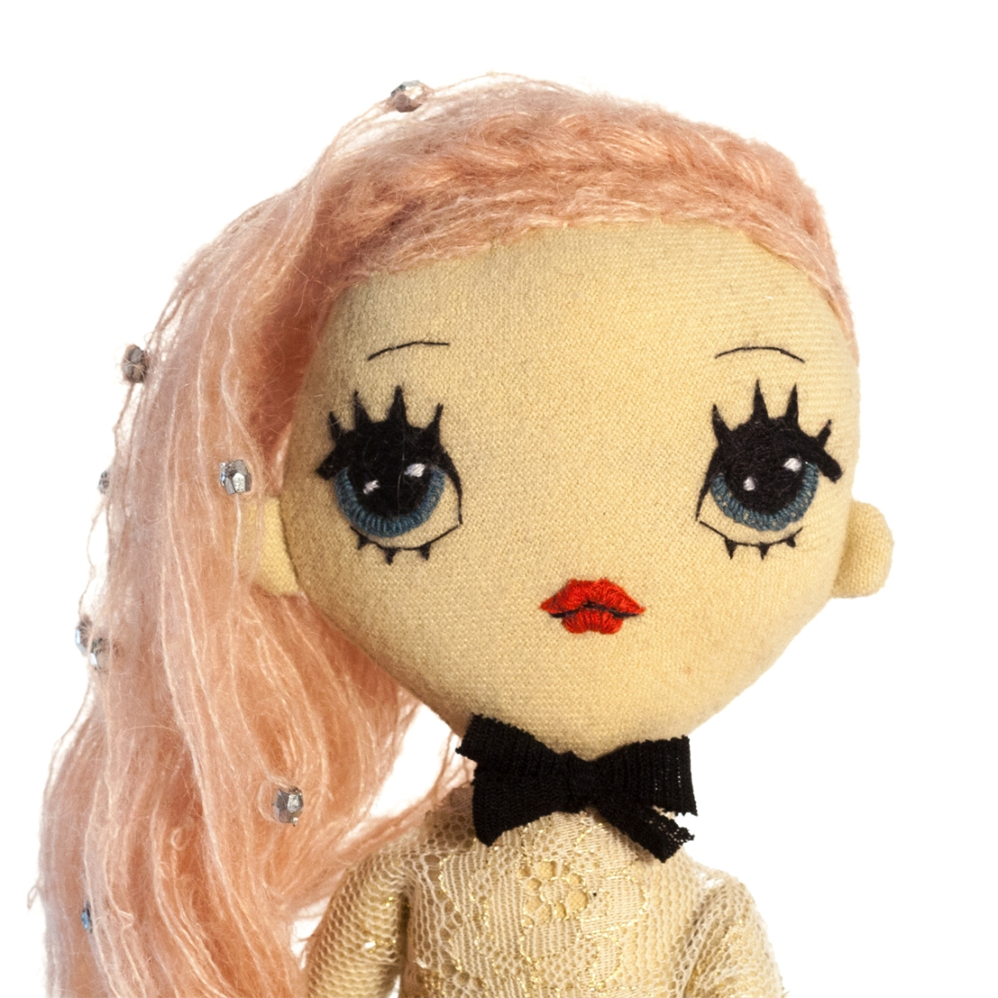 Dollcloud Agnes handmade fabric fashion doll portrait