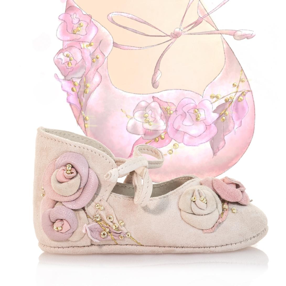 Shoe design illustration baby girl pink roses