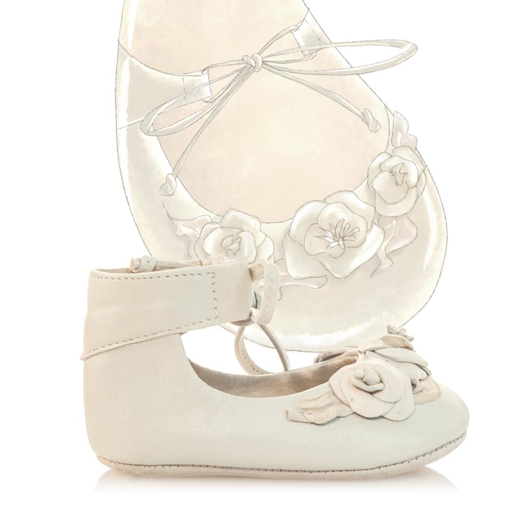 Beige baby girl kids children shoe design illustration