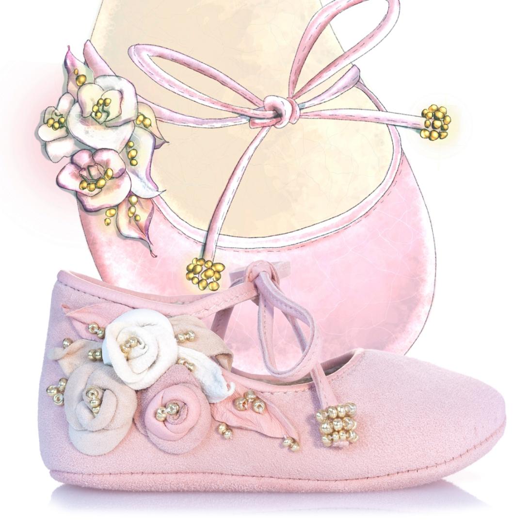 Pink and gold girls shoe dessign illustration roses pearls