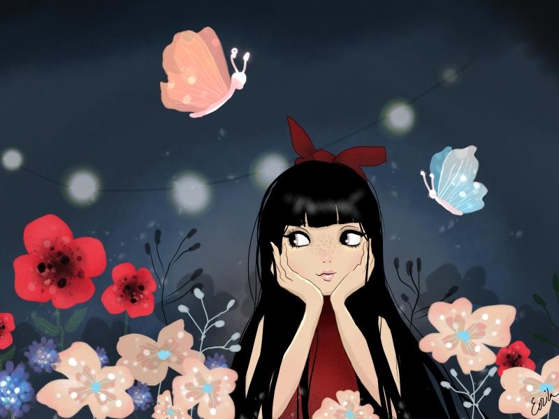 Girl in enchanted garden illustration