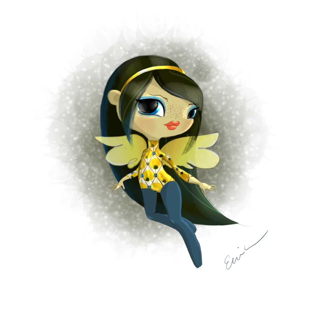 60s Inspired Doll Sketch Egyptian Firefly