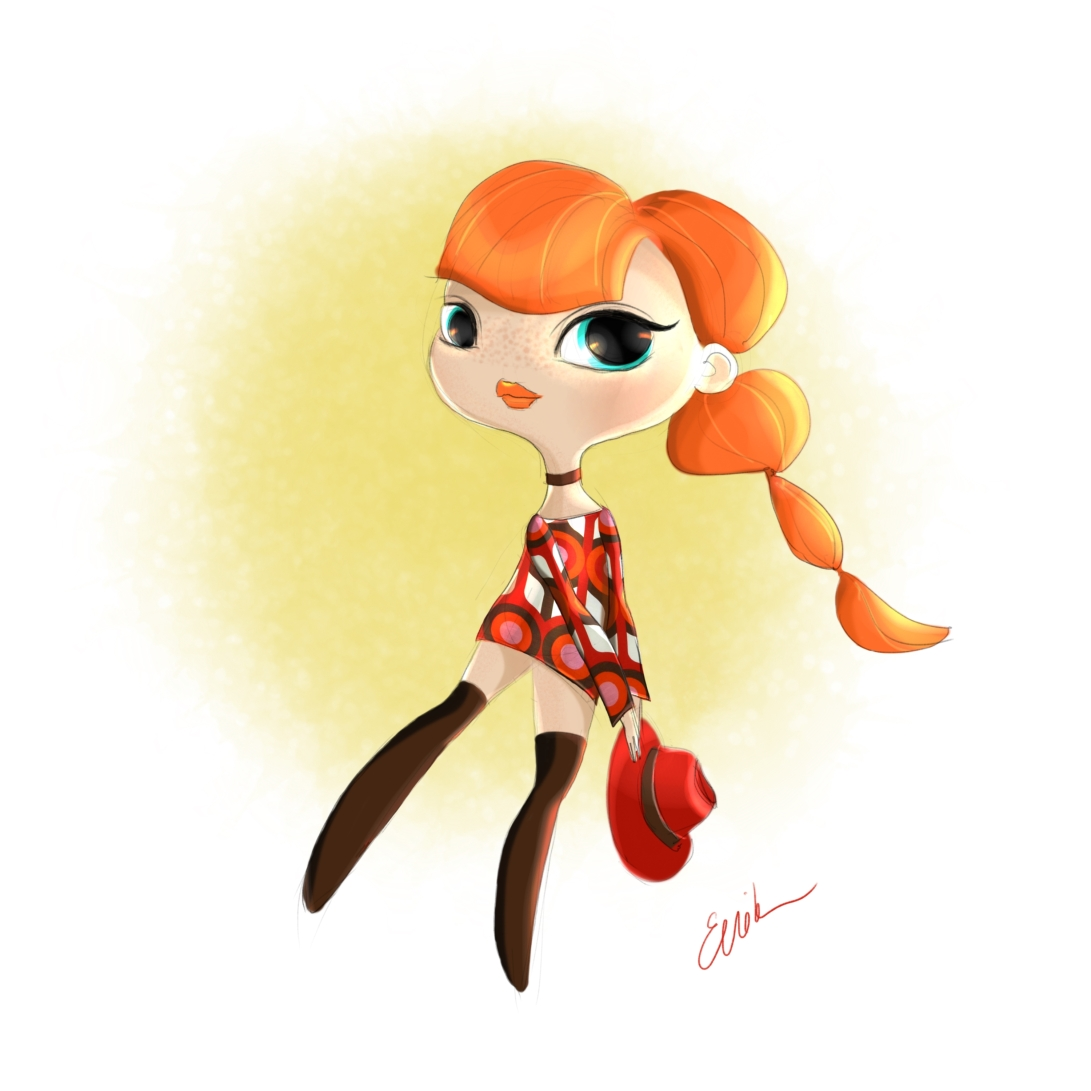 60s Inspired Doll Sketch Ginger Girl