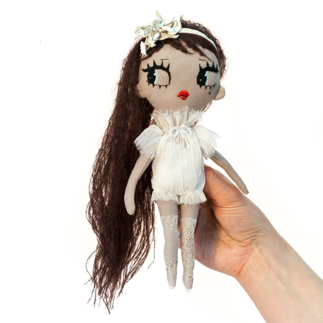 Dollcloud AIKO doll in silk ruffle dress and flower hairband brown hair