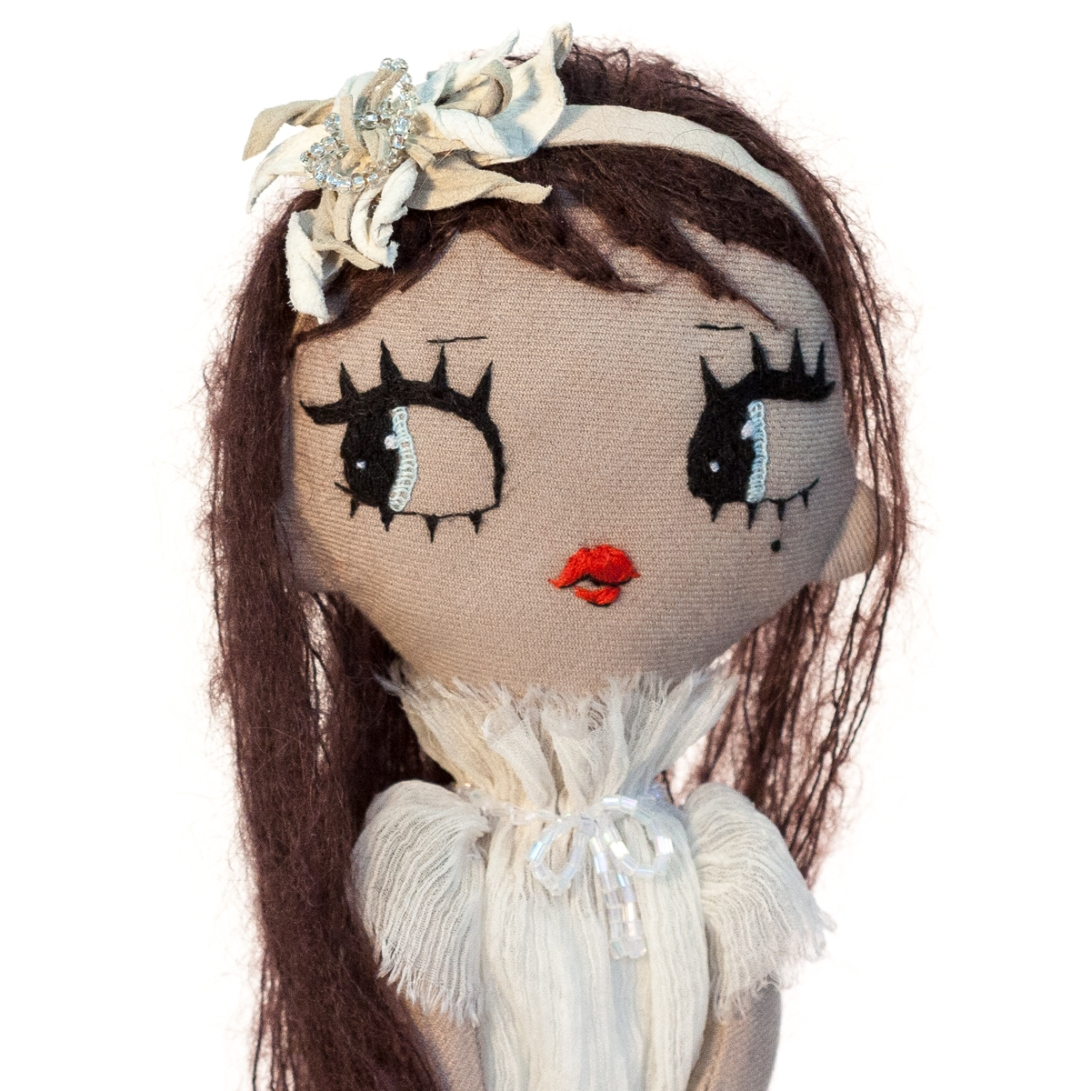 Dollcloud AIKO doll in silk ruffle dress and flower hairband closeup