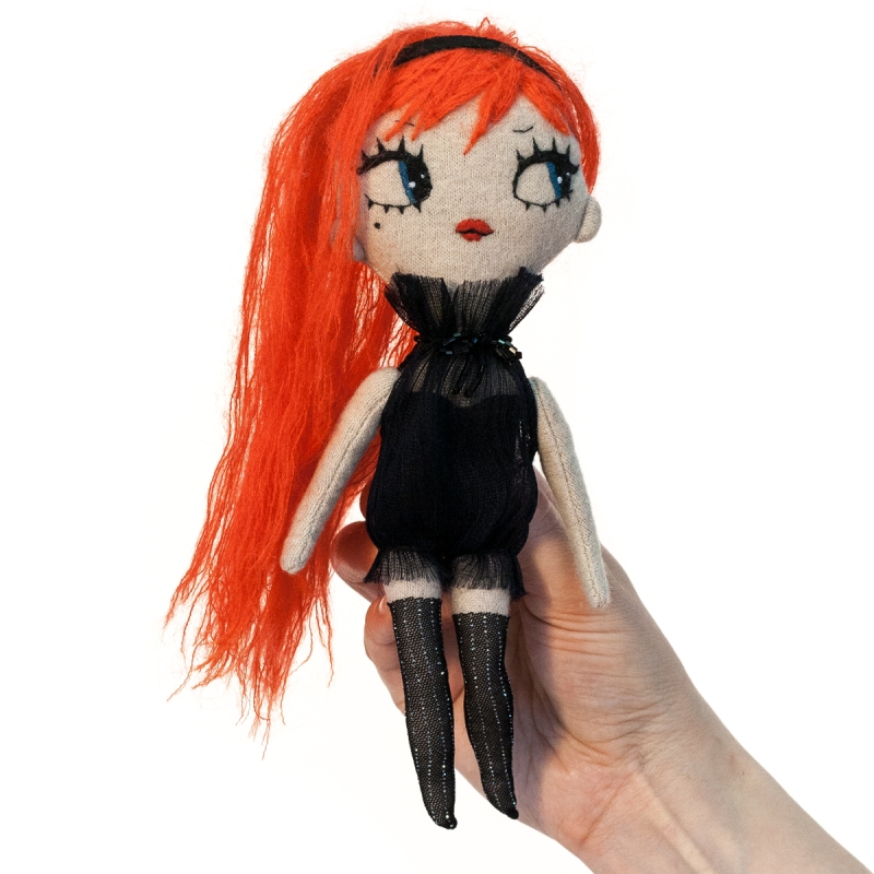 Dollcloud Babetta fashion doll in ruffled dress and red hair