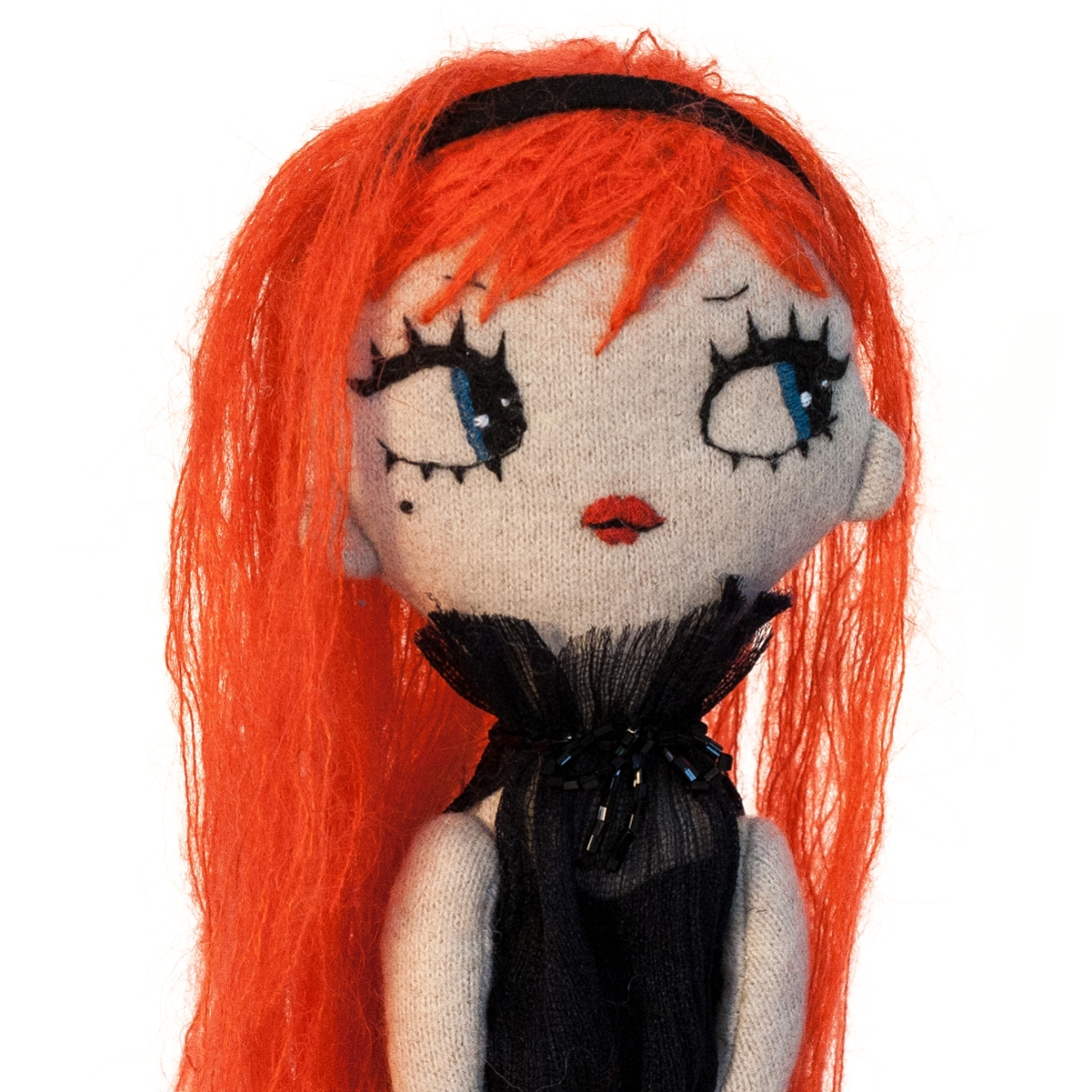Dollcloud Babetta enbroidered fabric fashion doll with red hair and black hairband