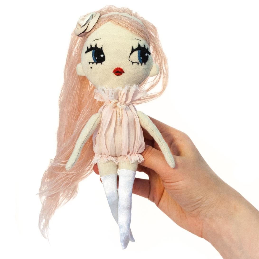 Dollcloud Daniela fashion doll inpink ruffle dress and rose headband