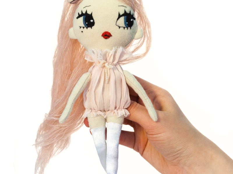 Dollcloud Daniela fashion doll inpink ruffle dress and rose headband