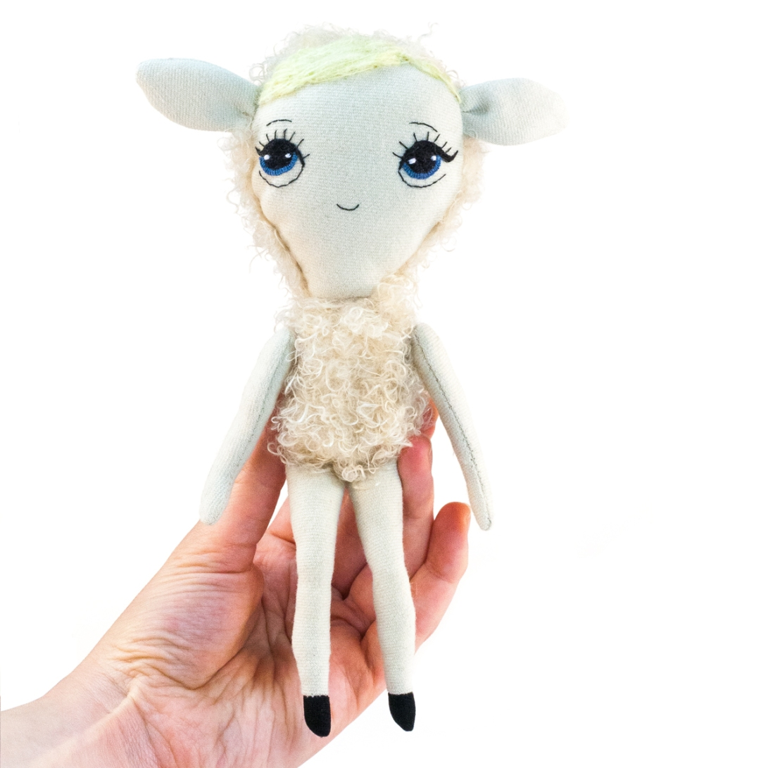 Dollcloud little beige lamb soft fabric doll portrait