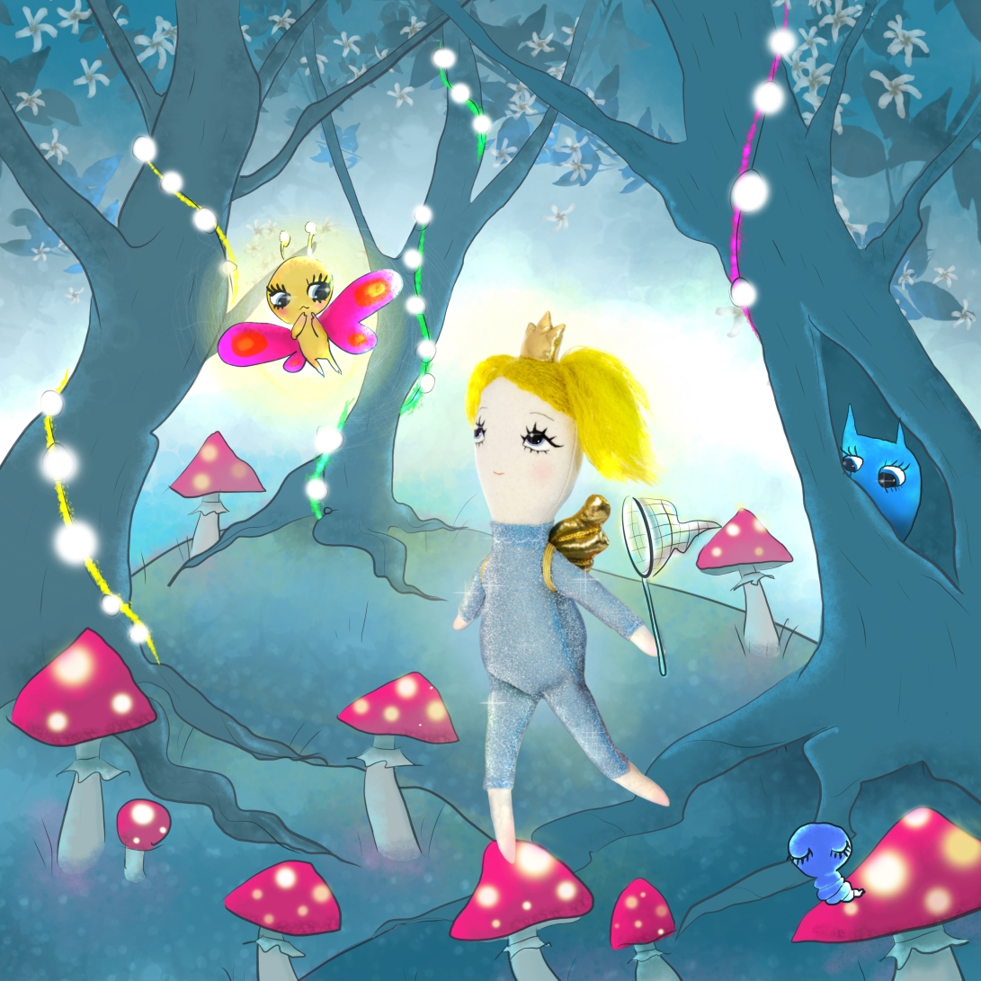 Dollcloud Blue Lighting doll in magic forest illustration JPG
