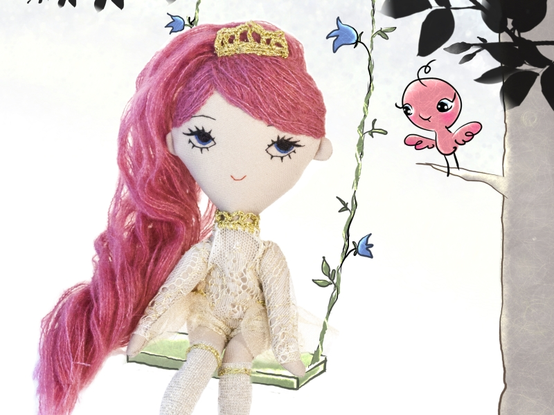 Bonbon handmade soft fabric doll illustration by Dollcloud