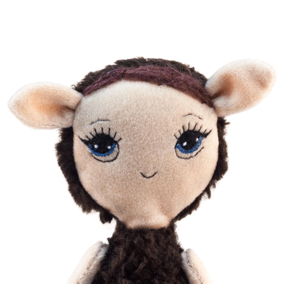 Dollcloud little brown lamb soft fabric doll details