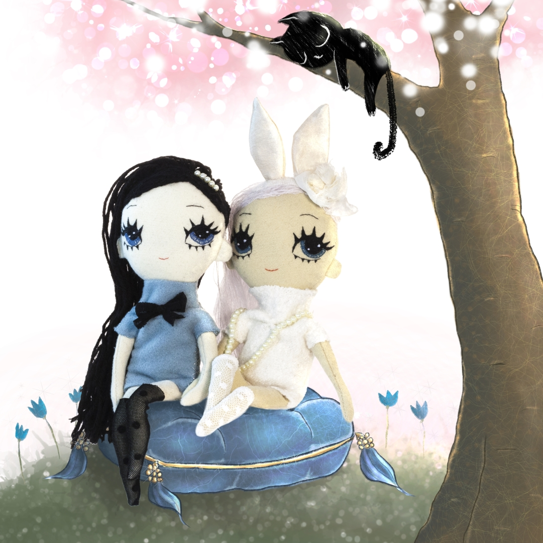 Dollcloud bynny and bluebell cloth dolls illustration