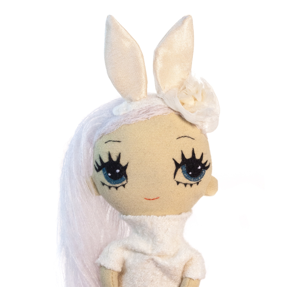 Dollcloud small soft doll white Bunny portrait