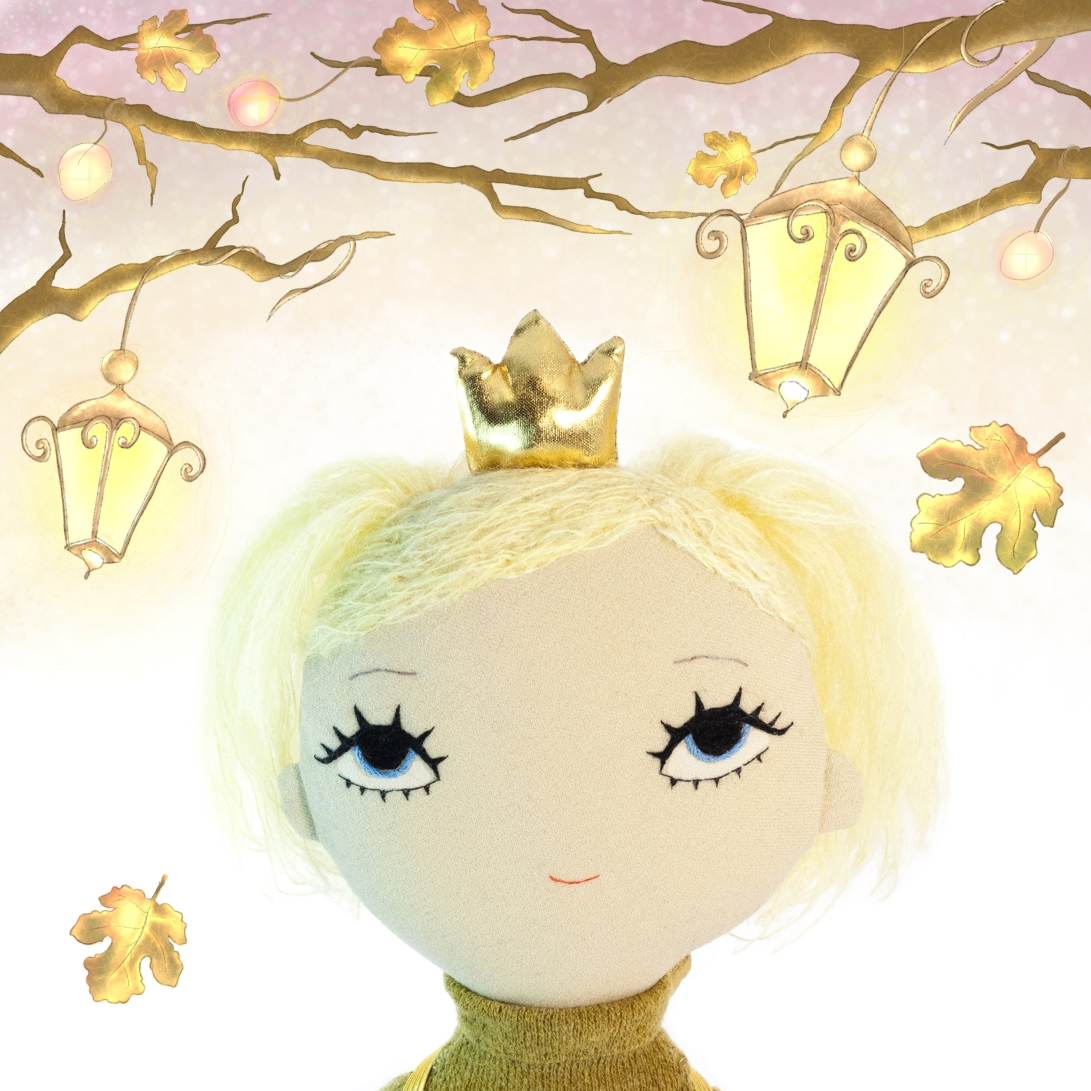 Dollcloud earth princess fabric doll and autumn drawing JPG