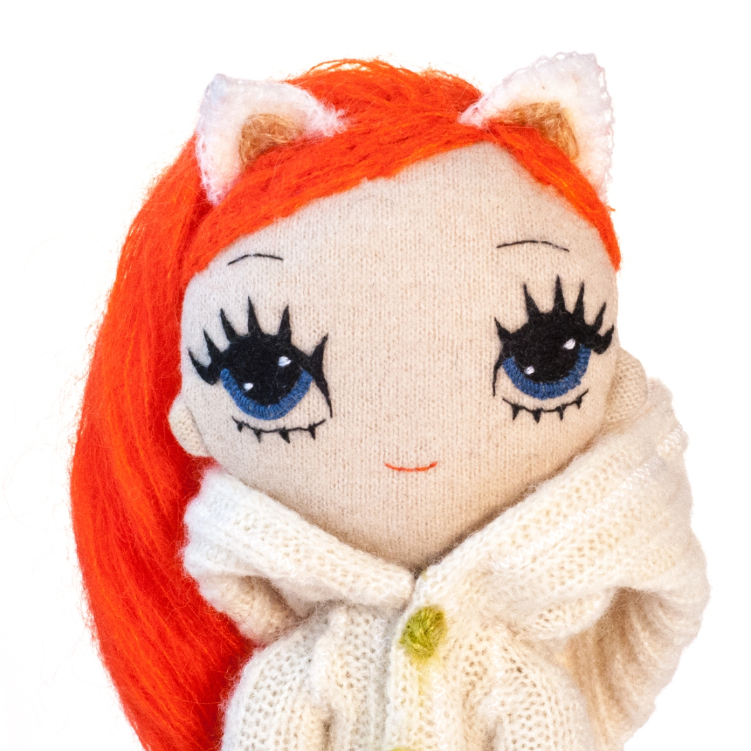Dollcloud Foxy Jackie soft cloth doll closeup