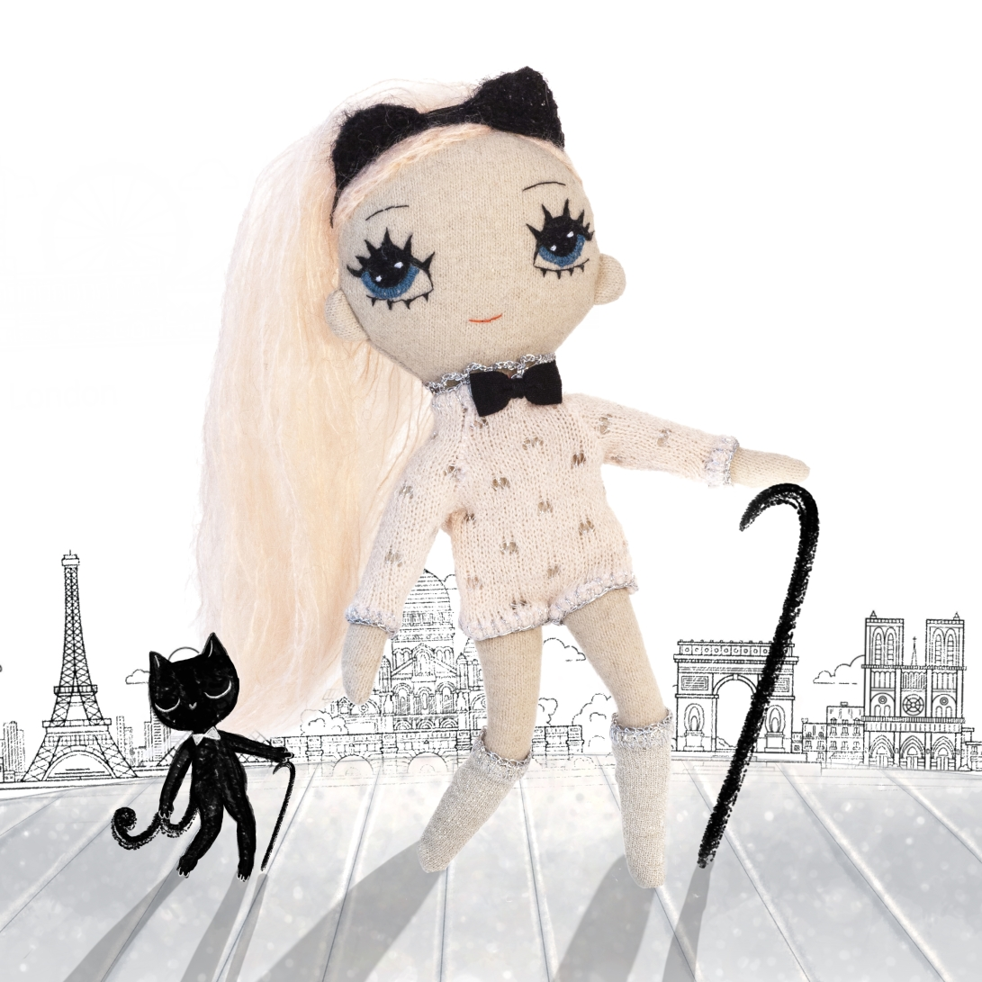 Dollcloud Kitty fabric doll with black cat in Paris illustration