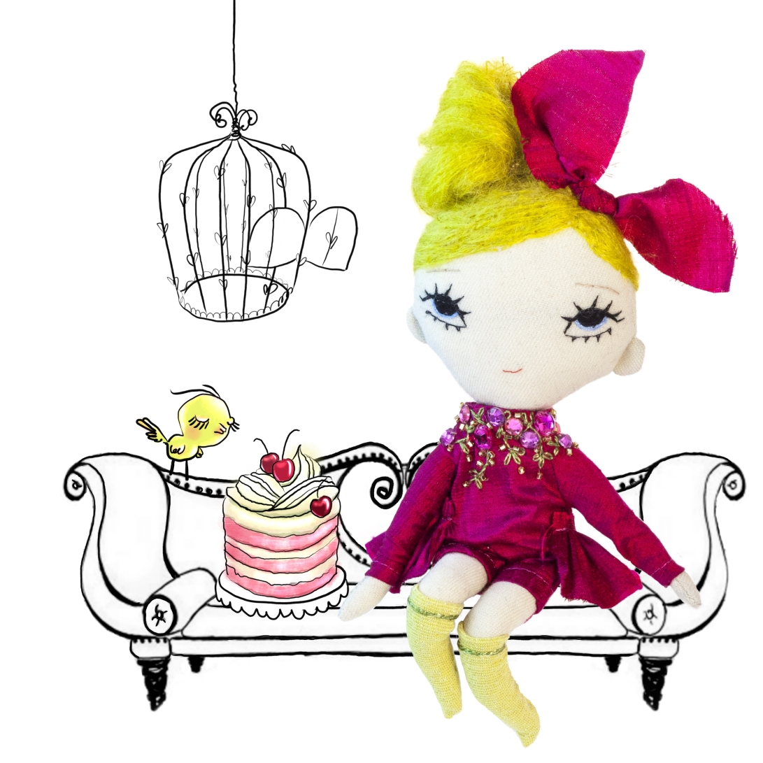 LaBelle handmade pink cloth doll with cherry cake drawing by Dollcloud