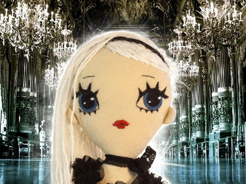 Dollcloud white haired Matilda doll in ruffled black lace onesie
