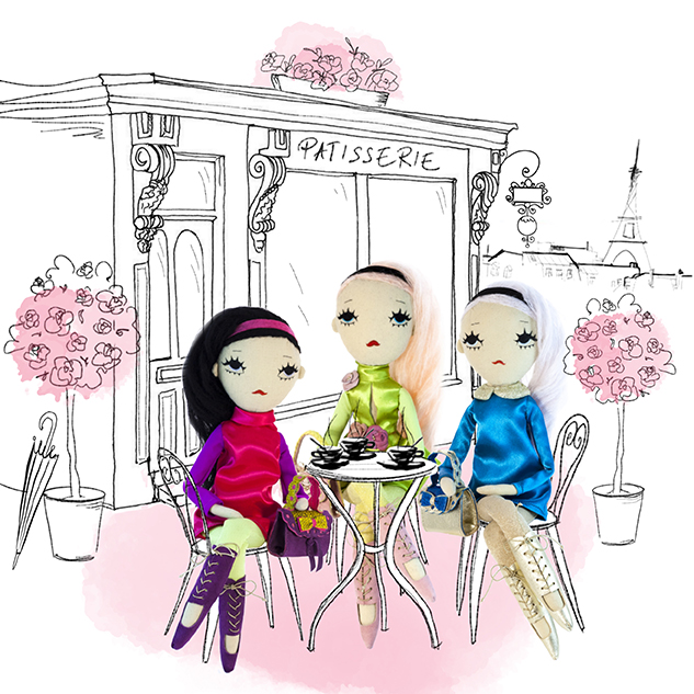 Dollcloud Paris Fabric fashion dolls in cafeteria illustration