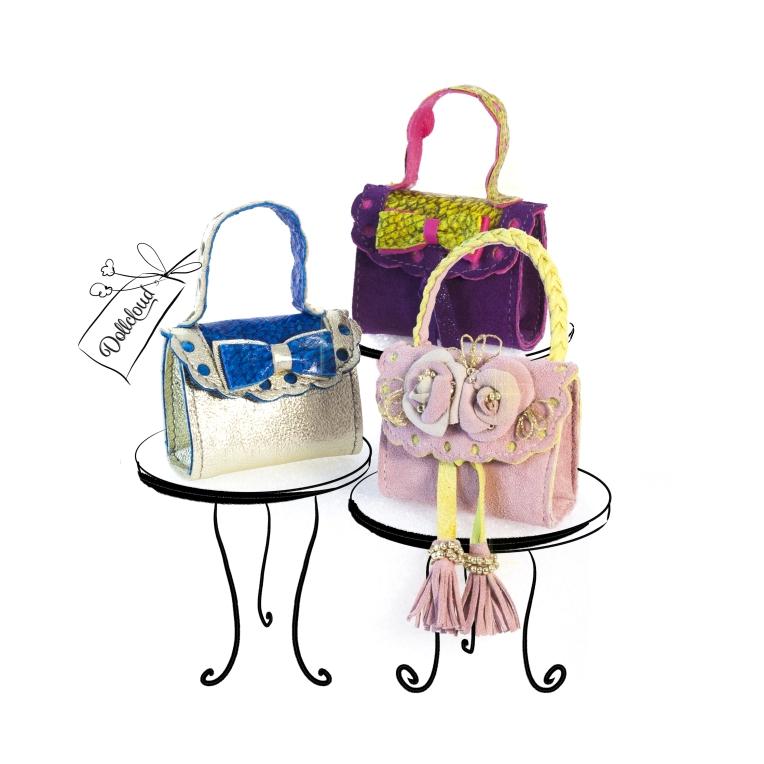 Handmade leather handbags for fashion dolls by Dollcloud