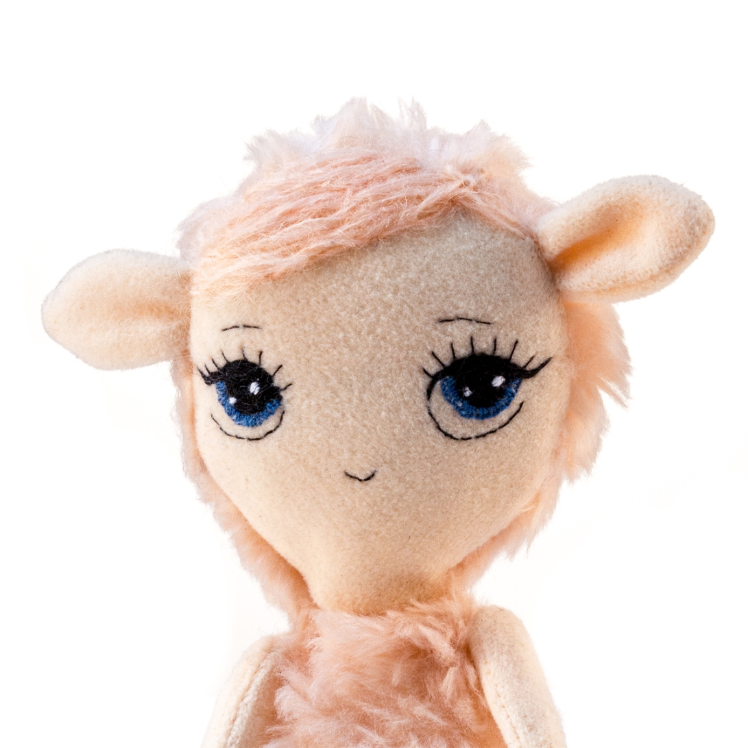 Dollcloud little pink lamb soft fabric doll portrait