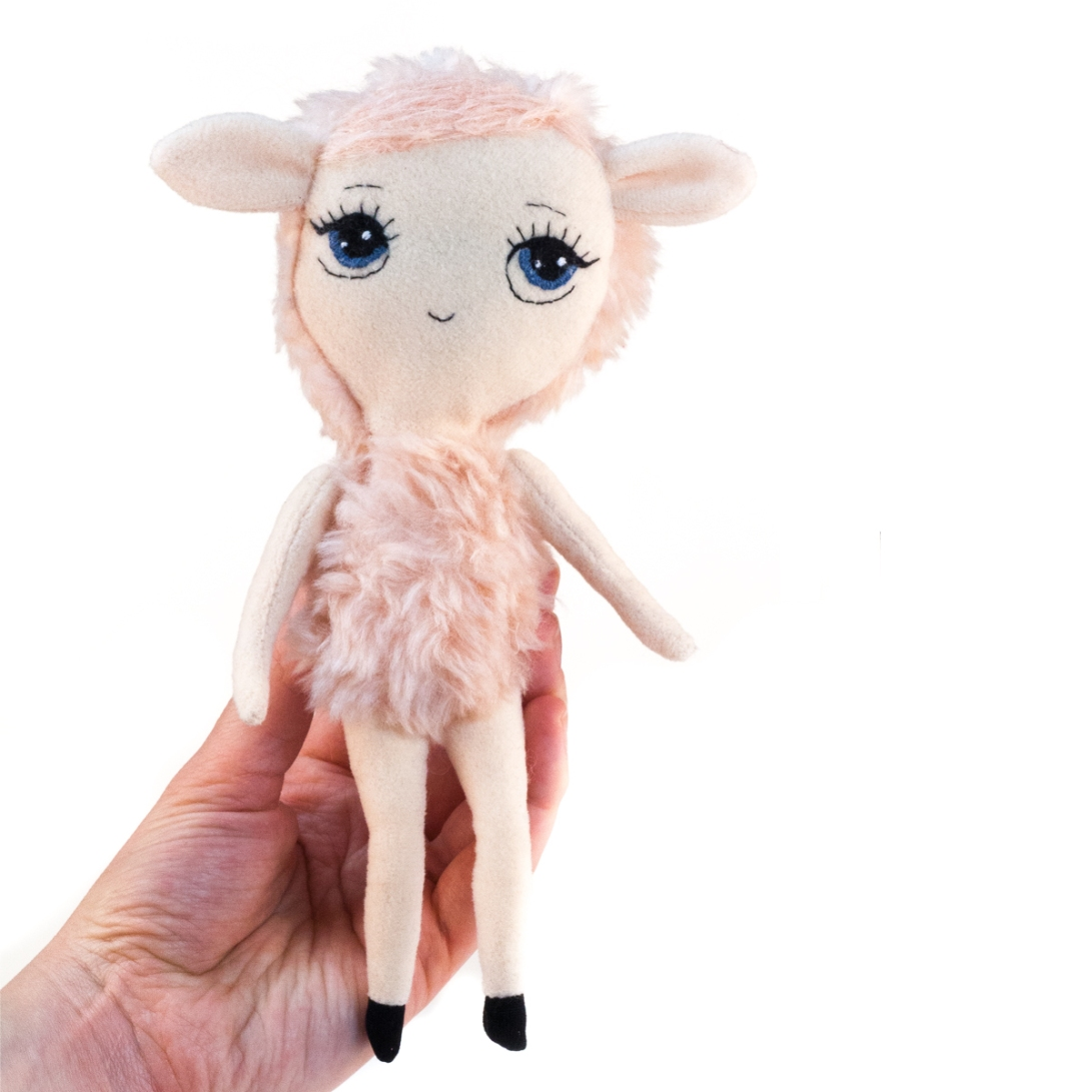 Dollcloud little pink lamb soft fabric doll front