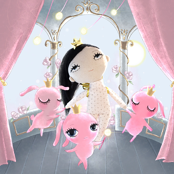 Dollcloud princess doll and bunnies drawing JPG
