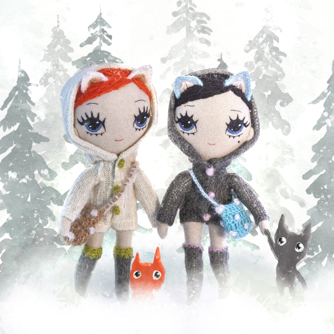 Wolfie and Foxy Jackie fabric dolls
