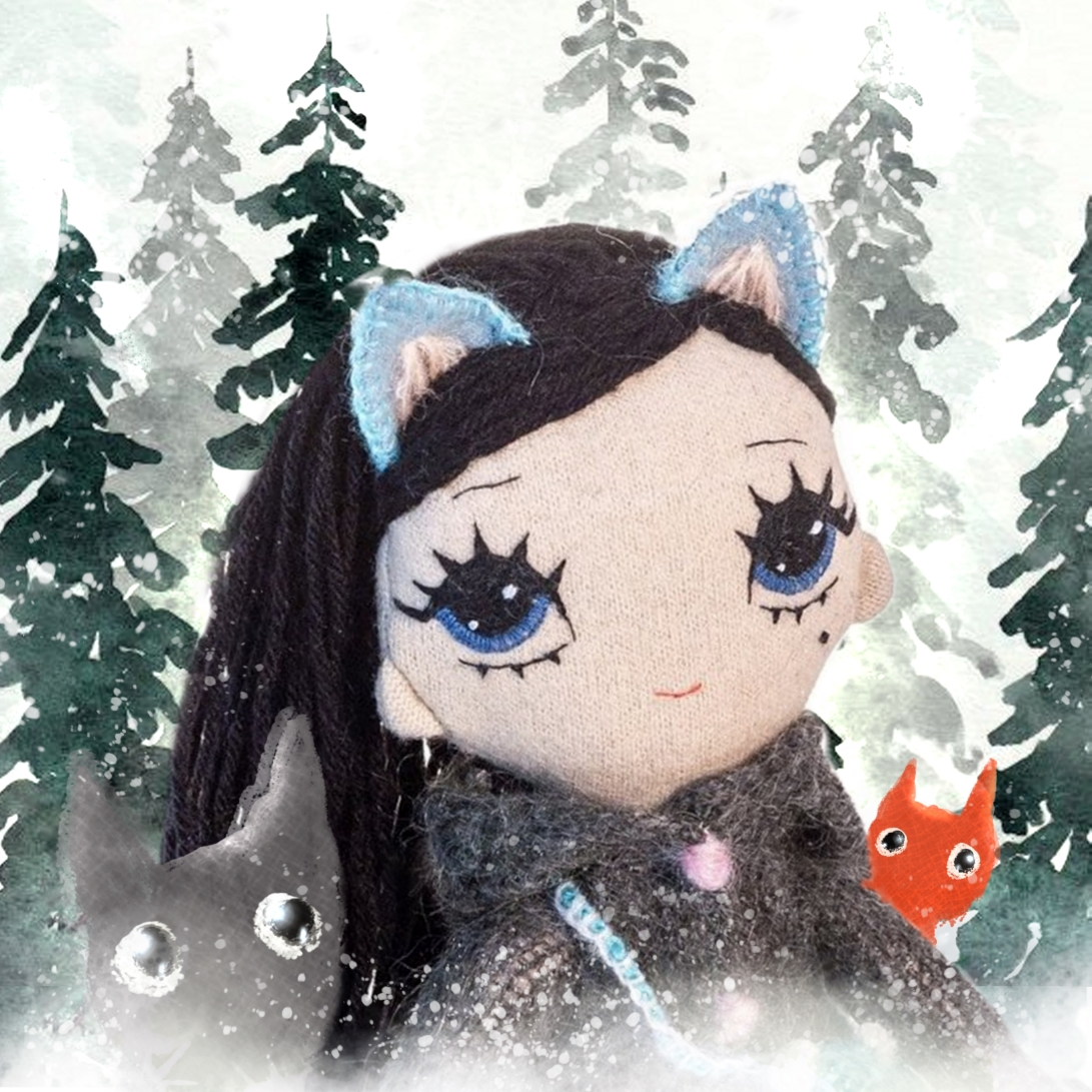 Dollcloud Wolfie soft cloth doll with fox and wolf illustration