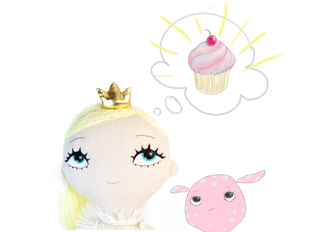 Dollcloud_fairytale_buttercup_fabric_doll_and cupcake_dream_portrait_illustration_jpg