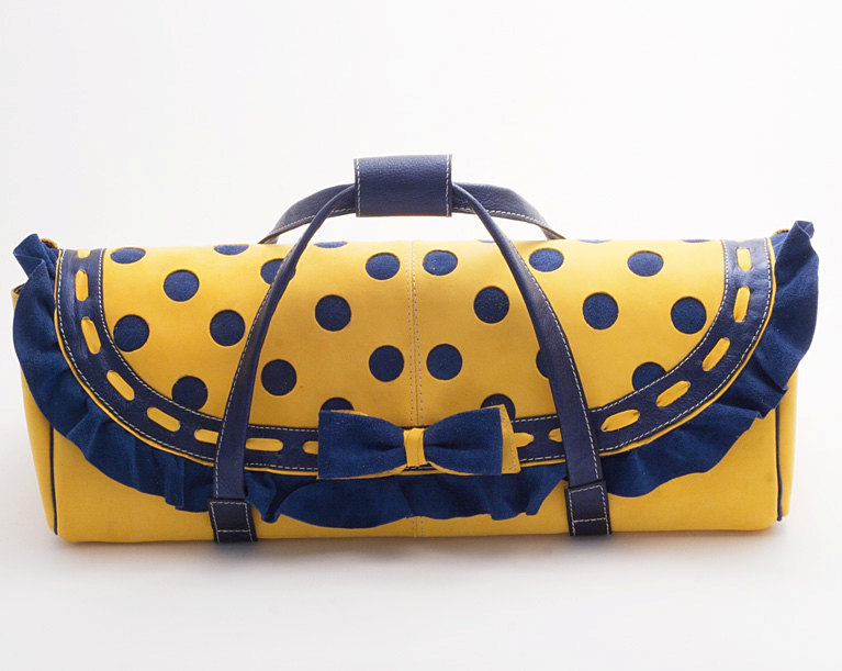 Dollcloud handmade yellod and vblue polkadot leather doll carry bag