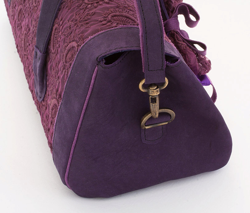 Dollcloud handmade purple leather doll carry bag detail