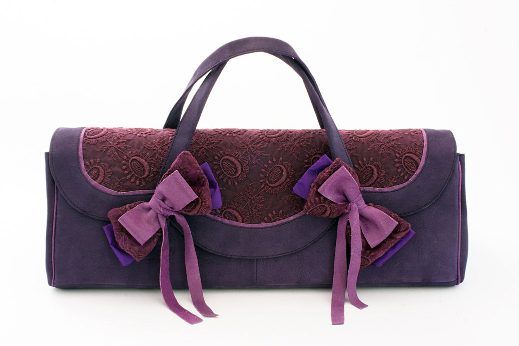 Dollcloud handmade purple leather doll carry case