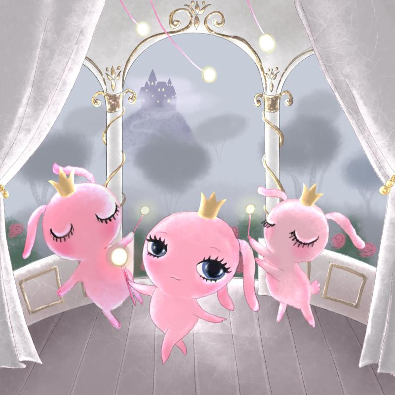 Pink bunnies in magic fairy castle illustration by Dollcloud