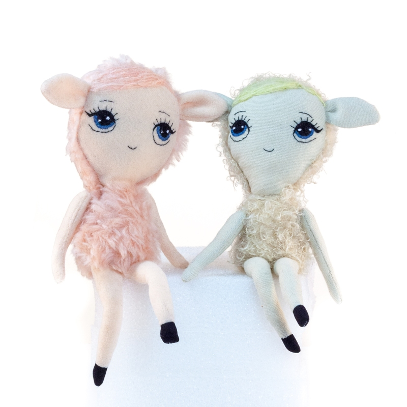 Dollcloud pink and beige lambs soft fabric dolls