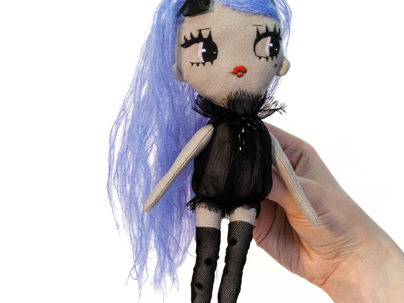 Dollcloud Mirella fabric fahion doll in black ruffled silk dress and black hairband