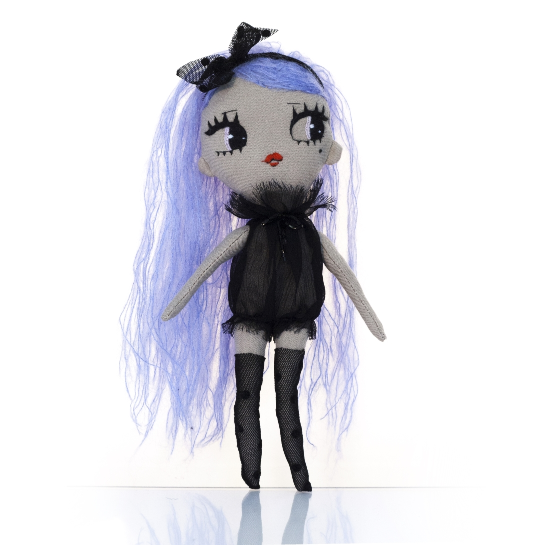 Dollcloud Mirella soft fahion doll in black ruffled silk dress and black hairband blue hair