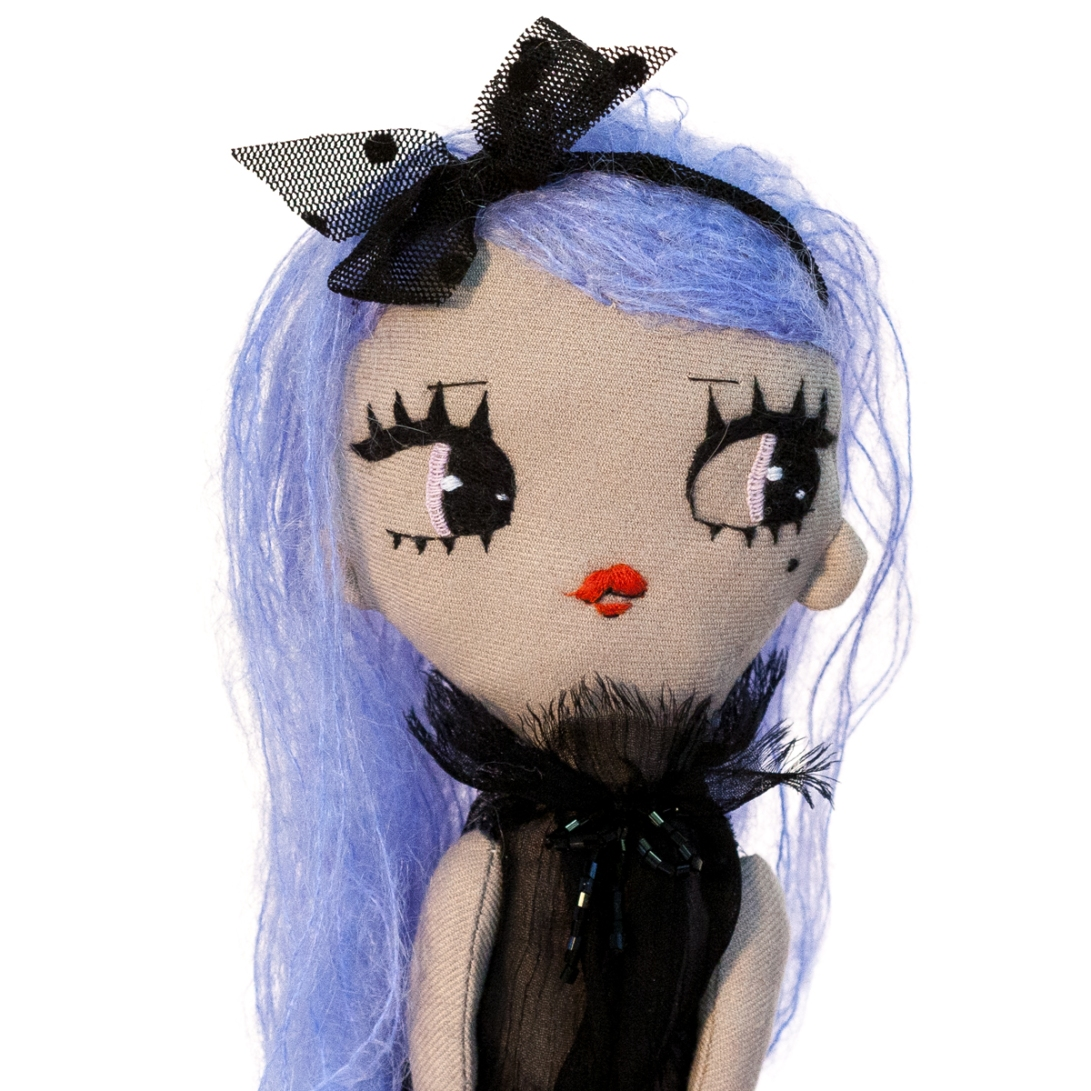 Dollcloud Mirella soft fahion doll in black ruffled silk dress and black hairband details