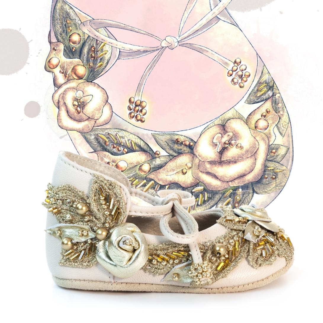 Beige and gold girls shoe design illustration