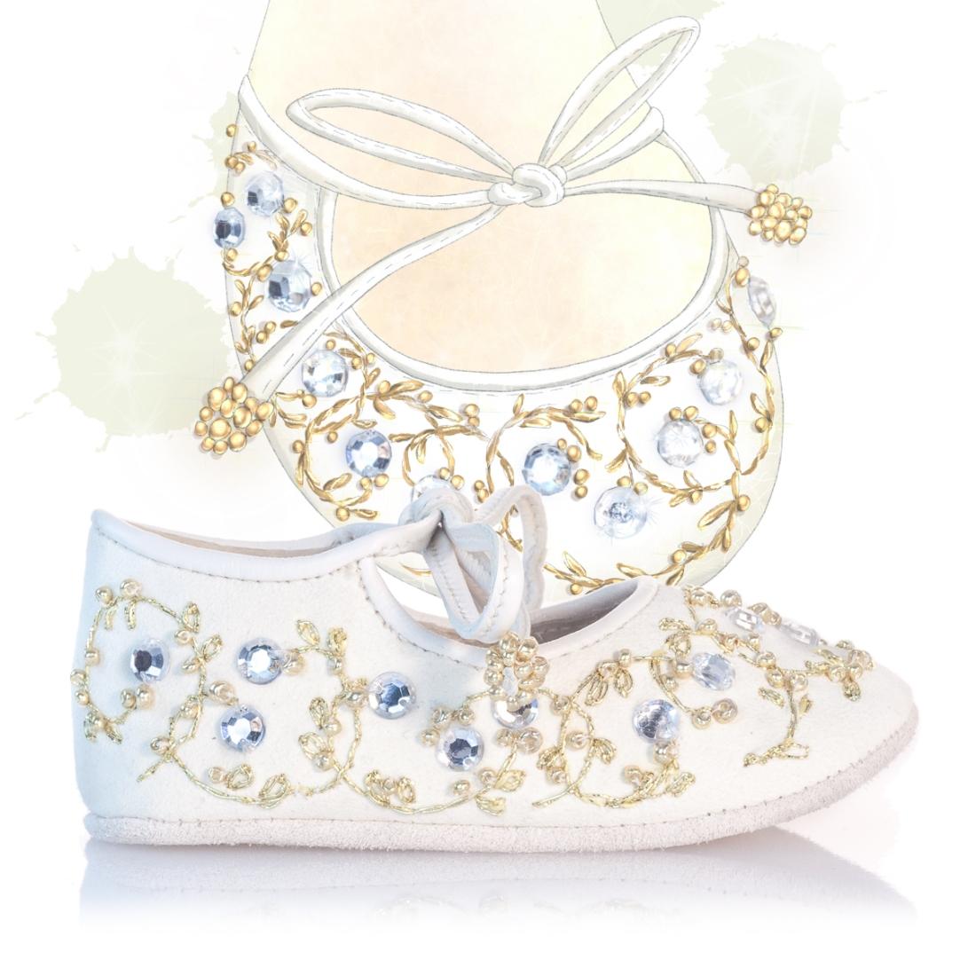 White and Gold girls shoe design illustration