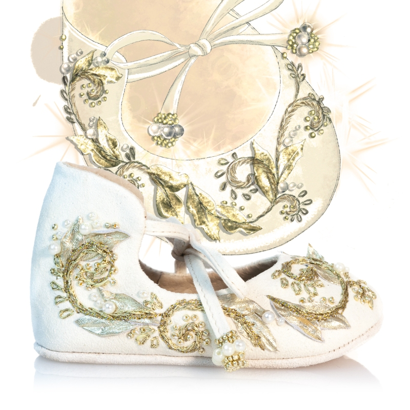 White and Gold girls shoe design illustration