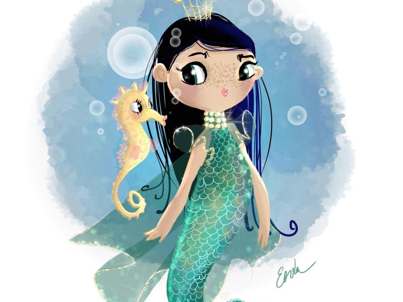 Little Mermaid and Seahorse sketch
