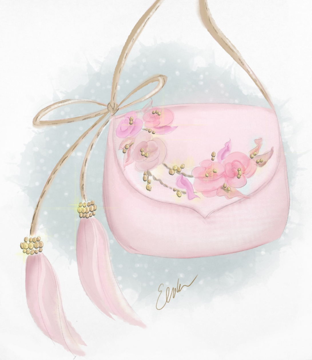 Dollcloud Pink and gold leather kids shoulder bag design sketch