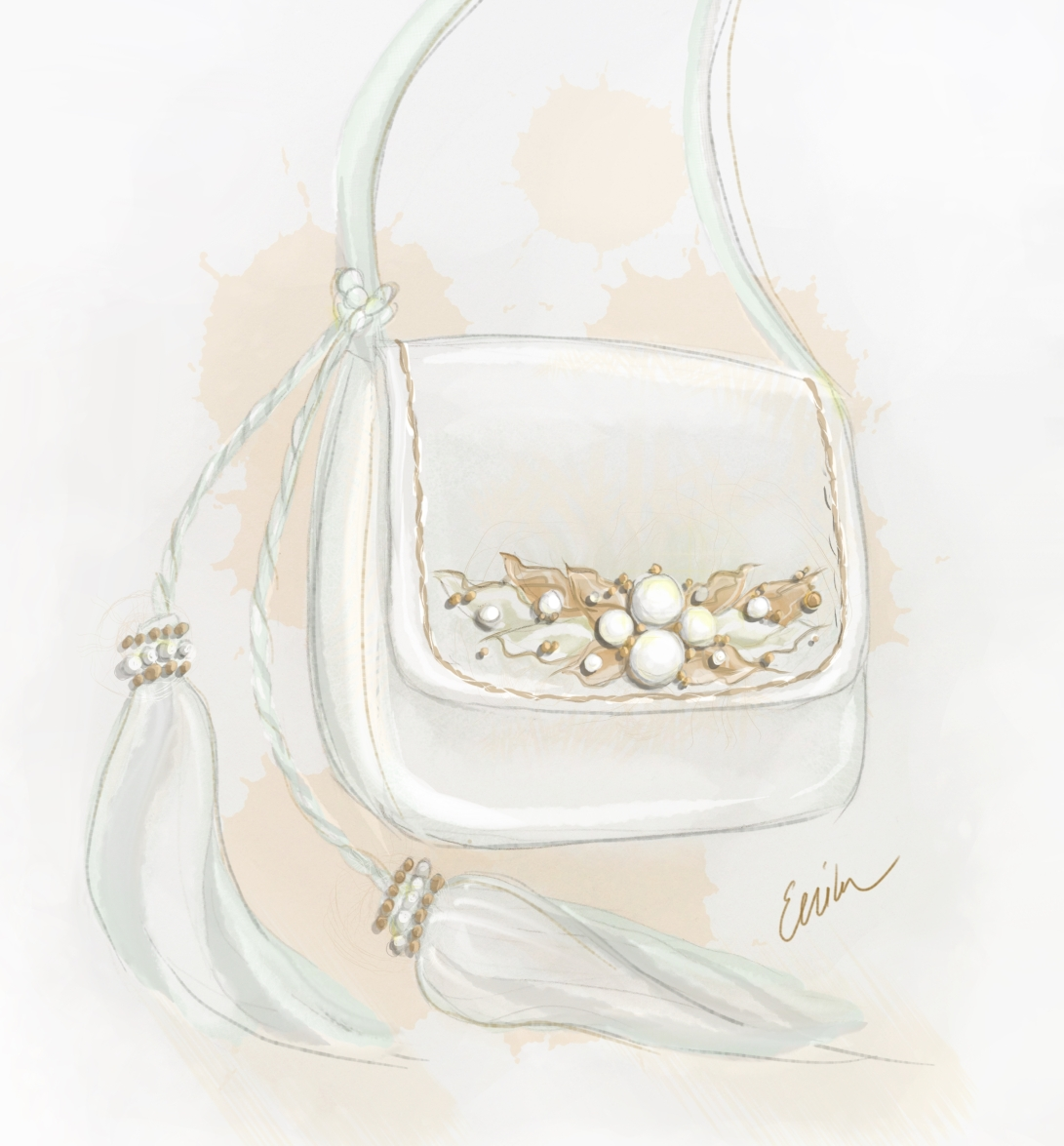 Dollcloud white leather shoulder bag design illustration
