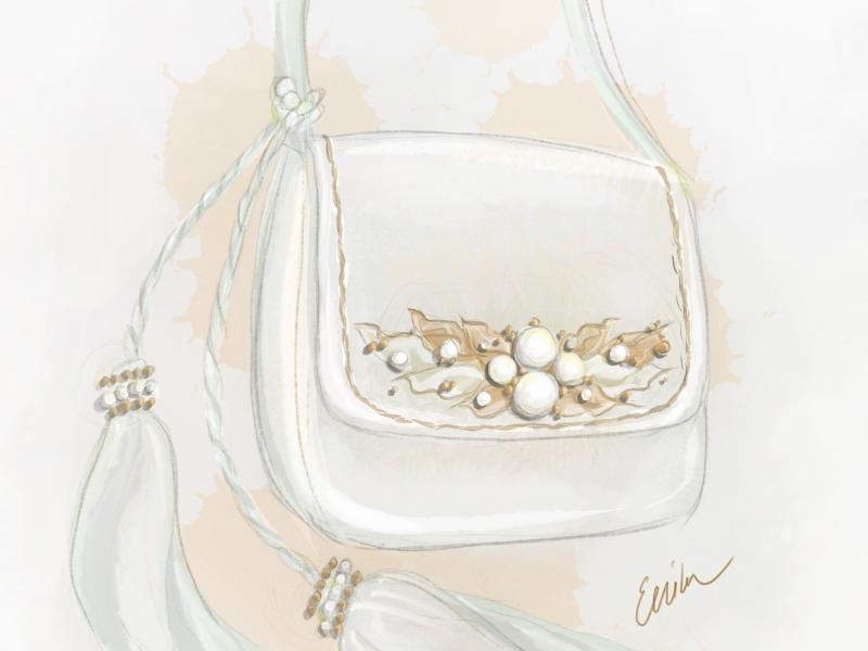 Dollcloud white leather shoulder bag design illustration